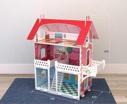 Кукольный домик цветной малый